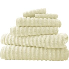 6-Piece Wavy Cotton Towel Set in Ivory