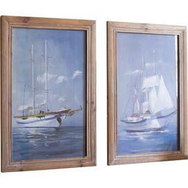 Ocean Sailboat Framed Print (Set of 2)