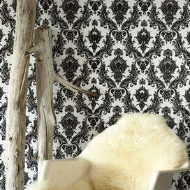 Damask Removable Wallpaper in Black & White