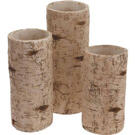 3-Piece Birch Candleholder Set