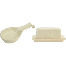 2-Piece Butter Dish & Spoon Rest Set in Ivory