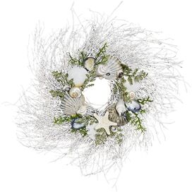 White Twig & Shell Preserved Wreath
