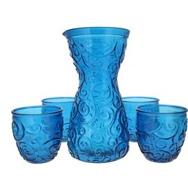 5-Piece Swirl Drinkware Set in Cornflower Blue