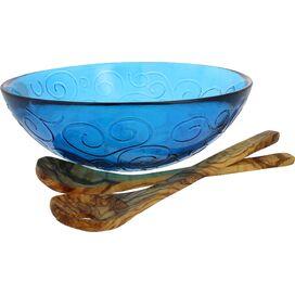 3-Piece Swirl Serving Bowl Set in Cornflower Blue