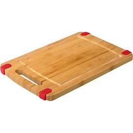 Non-Skid Bamboo Cutting Board in Red