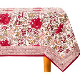 Laurette Tablecloth in Ivory & Red