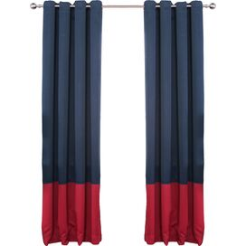 Arlington Blackout Curtain Panel in Navy & Cardinal Red (Set of 2)