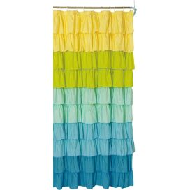 Ruffled Shower Curtain in Blue