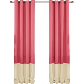 Arlington Blackout Curtain Panel in Pink & Beige (Set of 2)