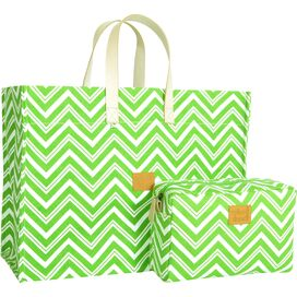 2-Piece Chevron Tote & Pouch Set in Lime Green