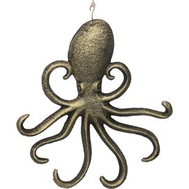 Octopus Wall Decor in Rustic Gold