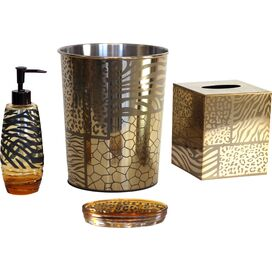 4-Piece Safari Bath Accessories Set