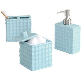 3-Piece Mia Bath Accessories Set in Seafoam