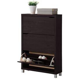 Simms 18-Pair Shoe Cabinet in Espresso