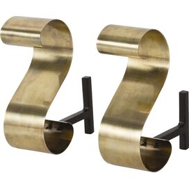 Gil Andirons in Antique Brass, Arteriors (Set of 2)