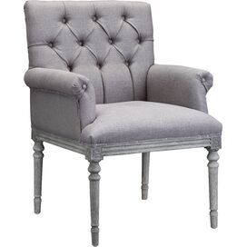 Keegan Tufted Arm Chair in Gray Linen