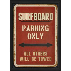 Surfboard Parking Framed Wall Decor