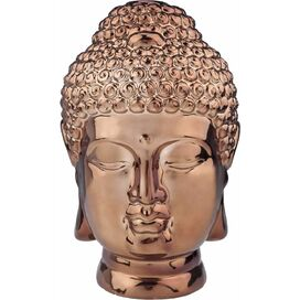 Buddha Head Statuette in Copper