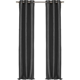 Faux Silk Grommet Curtain Panel in Black (Set of 2)