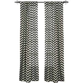 Chevron Cotton Rod Pocket Curtain Panel in Black