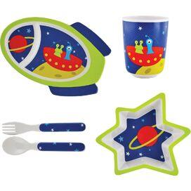 5-Piece Space Kids Melamine Dinnerware Set