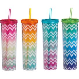 Ombre Chevron Acrylic Travel Cup (Set of 4)