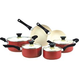 10-Piece Nonstick Cookware Set in Red