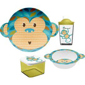 4-Piece Monkey Melamine Kids Dinnerware Set