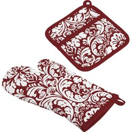 2-Piece Damask Oven Mitt & Potholder Set in Wine