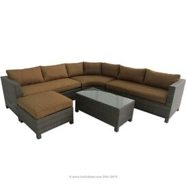 Barcelona Sectional Sofa & Ottoman in Mustard