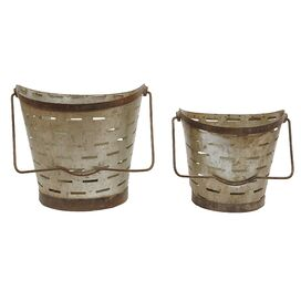 2-Piece Metal Bucket Decor