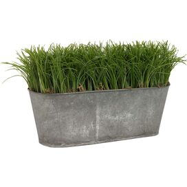 Faux Grass in Oval Tin