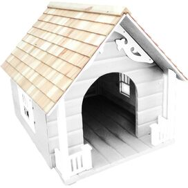 Heart Cottage Dog House in White