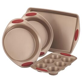 Rachael Ray 4-Piece Bakeware Set in Cranberry Red
