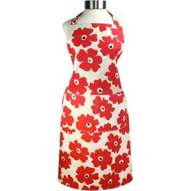 Floral Apron in Red Poppy