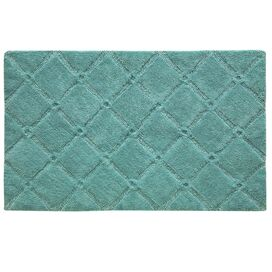 Trellis Bath Rug in Aqua Sea