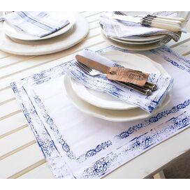 Mayenne Maison Cote D'Azur Placemant in Mediterranean Blue (Set of 4)