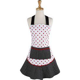 Polka Dot Ruffle Apron in Black & Red