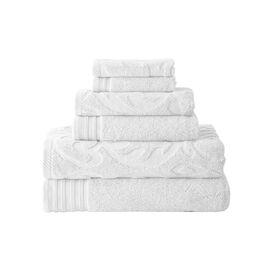 6 Piece Jacquard Towel Set in White