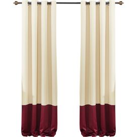 Color-Block Blackout Grommet Curtain Panel in Beige & Burgundy (Set of 2)