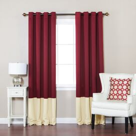 Color-Block Blackout Grommet Curtain Panel in Burgundy & Beige (Set of 2)