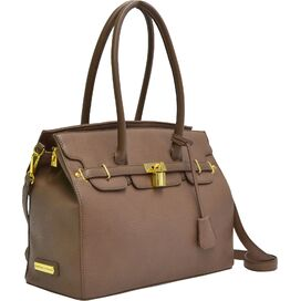 Isa Leather Satchel in Taupe