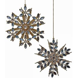 2-Piece Glitter Snowflake Ornament Set