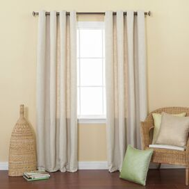 Faux Linen Grommet Curtain Panel in Cream (Set of 2)