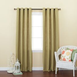 Faux Linen Grommet Curtain Panel in Sage (Set of 2)
