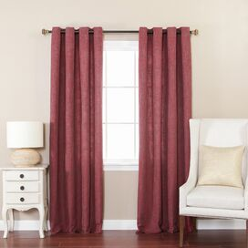 Faux Linen Grommet Curtain Panel in Burgundy (Set of 2)
