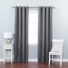 Faux Linen Grommet Curtain Panel in Gray (Set of 2)