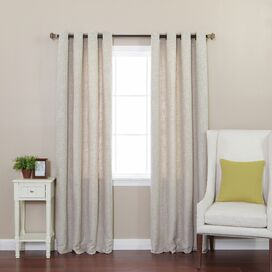 Faux Linen Grommet Curtain Panel in Stone (Set of 2)