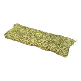 Olson Patio Bench Cushion in Green Ikat