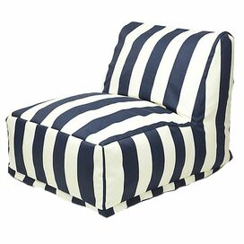 Brielle Indoor/Outdoor Beanbag Chair in Navy Blue & White